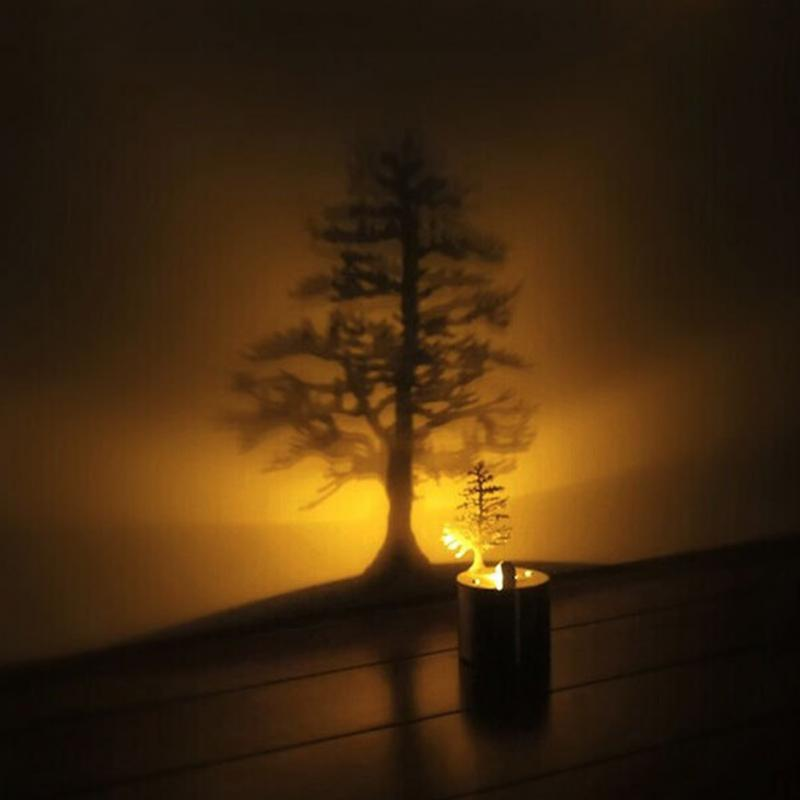 2017 Best Gift LED Night Light Romantic Atmosphere Candle Small Lamp Shadow Projection , 1-Pine 2-Magnolia 3-nest 4-Dandelion 5-Flock