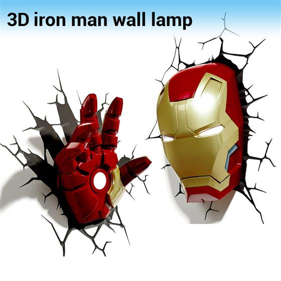 Creative Marvel Iron Man Shape 3D Wall Lamp Avengers Alliance LED Night Lights for Kids Room Gifts, Head and Hand