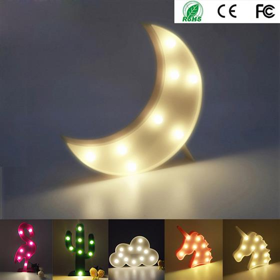 Luminaria Moon Star Cactus LED Marquee Letter Light Standing Lamp 3D Night Light, Flamingo Nightlight For Kid Gift Decoration