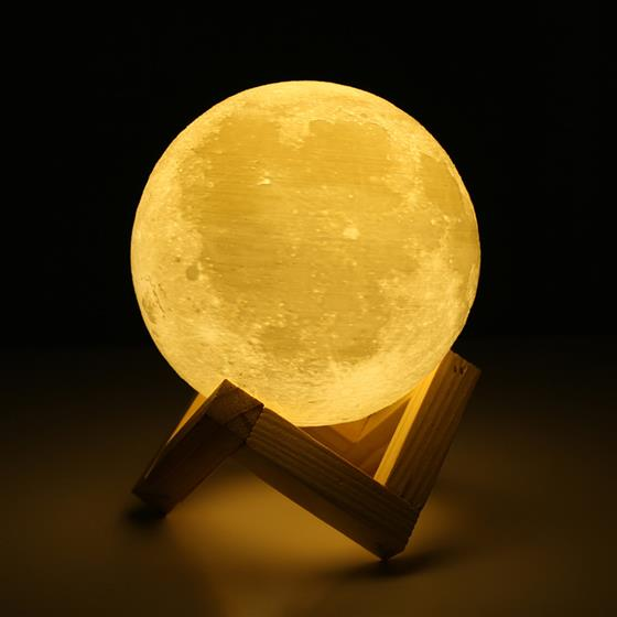 Creative Gift 3D Print Moon Lamp Bedroom Bookcase Rechargeable Night Light Home Decor, 2 Color Change Touch Switch 10cm diameter