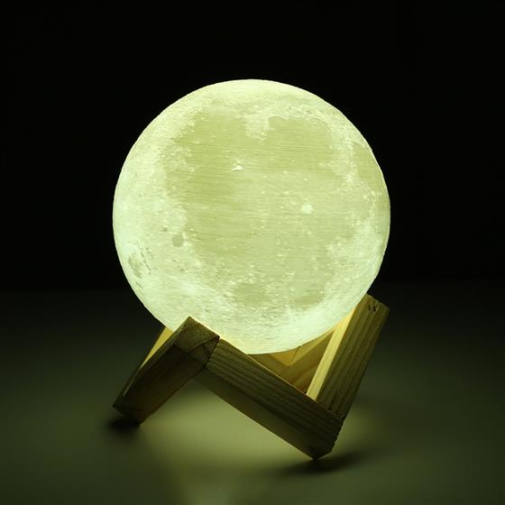 Rechargeable 3D Print Moon Lamp Bedroom Bookcase Night Light Home Decor Creative Gift, 2 Color Change Touch Switch 8cm diameter