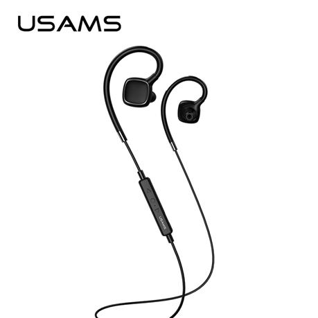 USAMS Wireless Bluetooth Earphones Stereo Waterproof Ear-hook, Noise Reduction Sports Earphone with Microphone for iPhone Samsung