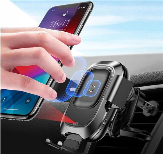 Baseus Air Vent Mount Car Phone Holder for iPhone XR Intelligent Sensor QI Wireless Charger , Support QC 3.0 2.0