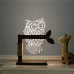 Creative 3d bedroom 6 LED night light wood+ABS dimmable lighting owl des...