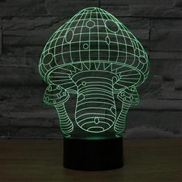 Creative 3D Lamp LED Night Light Mushroom Shape Night Lamp Acrylic USB L...