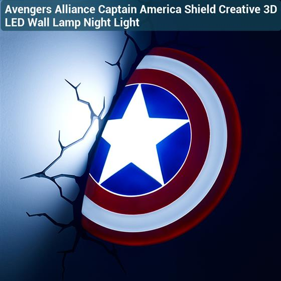 3D Avengers Alliance Captain America Shield LED Wall Lamp Night Light Children Room Home Decor