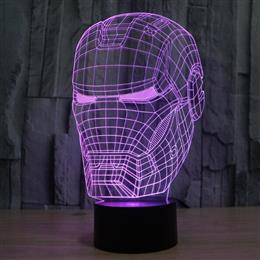 Decor light 3D illusion Avengers night light Iron Man mask shape LED tab...