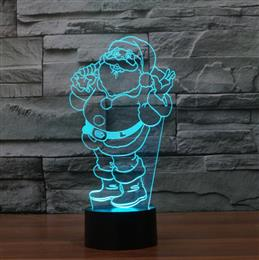 3D Optical Illusion Christmas Santa Claus LED Art Sculpture Night Lights Desk Lamp