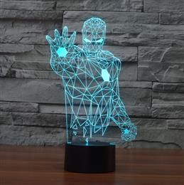 Creative acrylic 3D LED Night Lights Iron Man Colorful USB Table Lamp For Gift Kids Toys