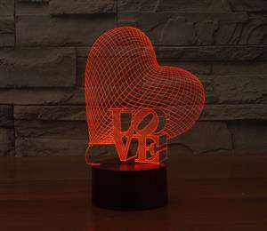 LOVE heart colorful 3D gradient light visual illusion lamp LED lamp Acrylic lamp light