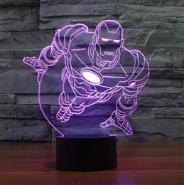 Acrylic light Novelty 3D illusion led night light flying iron man mask shape LED table lamp Decorative Lamp