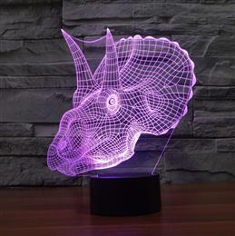 Novelty 3D Illusion Lamp Dianosaur Head LED Night Light USB lamp Home Be...