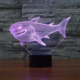 Night Light LED fake 3D Illuminated Shark fish Lamp Bedroom acrylic Desk Table Decor Lighting