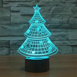 Christmas Tree 3D Light Colorful Gradient Acrylic USB lamp Lovely Nightlight for Gift for Kids