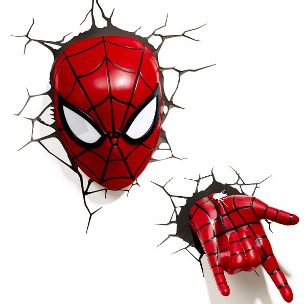Creative Avengers Alliance Spiderman Shape 3D Night Lights LED Wall Lamps for Bedroom Decorative Lights Kid Gifts