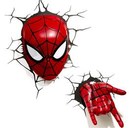 Creative Avengers Alliance Spiderman Shape 3D Night Lights LED Wall Lamp...