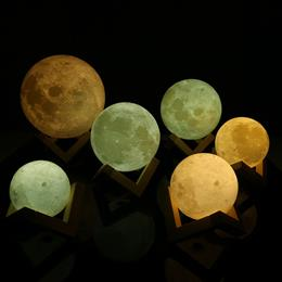 3D Print Moon Lamp Bedroom Bookcase Rechargeable Night Light Home Decor Creative Gift
