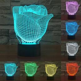 Creative lamp Acrylic rose 3D light 7 Color Changing LED night light for Decor table lamp