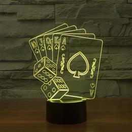 Playing Card Dice 3D Illusion light Lamp 7 Color Changing USB Acrylic Lights For Home Decorative