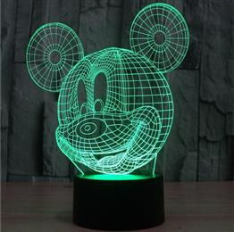 Creative Acrylic Mickey Mouse LED Night Light Table Lamp Childrens Bedroom Lighting
