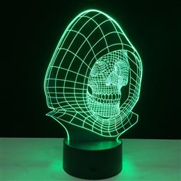 Skull In Cap 3D Visual Night Light Mood Desk Lamp Halloween Decoration