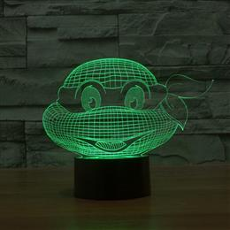 Cartoon Mutant Ninja Turtles Acrylic 3D Illusion Lamp Nightlights Kid Room Decor Light