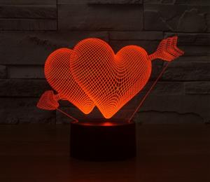 Creative 3D illusion LED Night Light Hearts and Arrow Acrylic Atmosphere Lamp Novelty Light