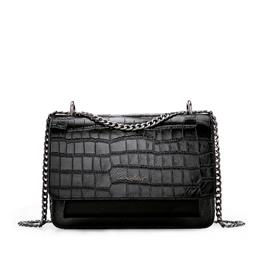 Genuine Leather Bag Chain Cross Body Alligator Pattern Women Messenger Bag Lady