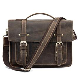 Men Briefcases Handbag Leather Laptop Bag Messenger Bags Shoulder Crossbody Bags Crazy Horse Genuine Leather Men Bag