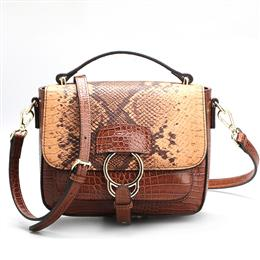 Vintage Brown Genuine Leather Bags Python Bag Famous Brand Snake Bag