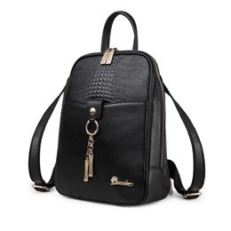 Genuine Leather Women Schoolbag  Backpacks Solid Girls School Bags Black