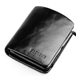 Crazy Horse Genuine Leather Three Fold Wallet Men Black Luxury Brand Sho...