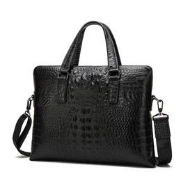 Genuine Leather Men Bag Men Briefcase Crocodile Pattern Shoulder Crossbody Bags Leather Laptop Bag Male Handbag Tote Bag