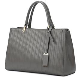 Women Bags Loved Gray Genuine Leather Women Handbags Famous Brand Stripe...