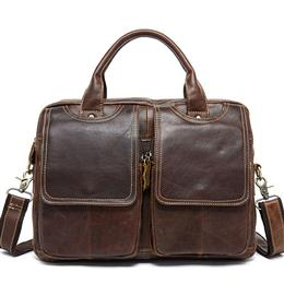 Men's Briefcase Leather Laptop Bag 14'' Genuine Leather Men ...