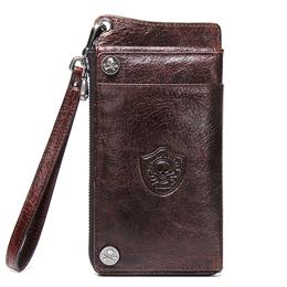 100% Genuine Leather Men Wallet Card Holder Male Purse With Phone Bag