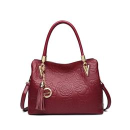 Genuine Leather Bag Female Floral Embossed Handbag Ladies Shoulder Bag