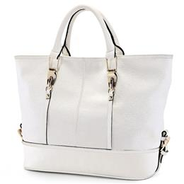 Large White Handbag Women Bag Soft Top Genuine Leather Tote Bag