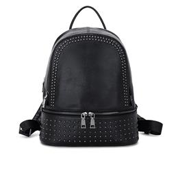 Genuine Leather Backpack Large Capacity Rivet Black Shoulder Bag Women Casual Backpack