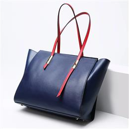 Newest Large Genuine Leather Women Tote Bags Designer Ladies Panelled Sh...