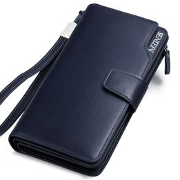 Hot Sale Men Clutch Wallet Long Purse Wallet Luxury Male Genuine Leather Wallet Men Zipper Purse