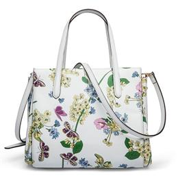 New Designer Women Handbags Genuine Leather Butterfly Flower Hand bags Summer White Bag