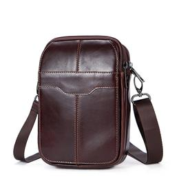 Genuine Leather Men Bag Vintage Phone Waist Pack Flap Mini Shoulder Bag Small Crossbody Bags Zipper Men Messenger Bags