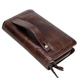 Genuine Leather Man Wallets Double Zipper Handbags And Purse