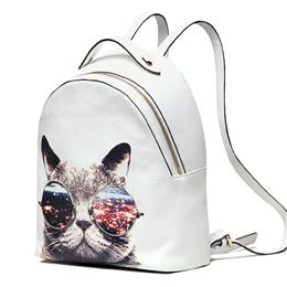 Genuine Leather Backpack Women Cute CAT Backpack Sweet Lady Cow Leather School Bag