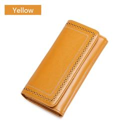 New Split Leather Womens Purse Casual Wallet Button Wallet Women Large Capacity Purse