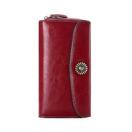 Large Capacity New Split Leather Wallet Long Purse Women Zipper Money Bag Casual Purse
