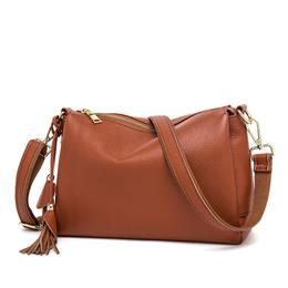 Luxury Hot Fashion Women Brown Handbags 3 Layers Genuine Leather Female Bag Made In China