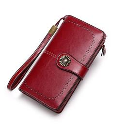 Large Capacity Women Clutch New Wallet Split Leather Wallet Female Long Wallet Women Zipper Purse