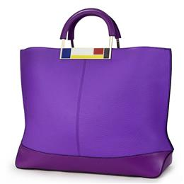 Flag Metal Large Tote Bags Purple European Brand Designr Real Leather Wo...
